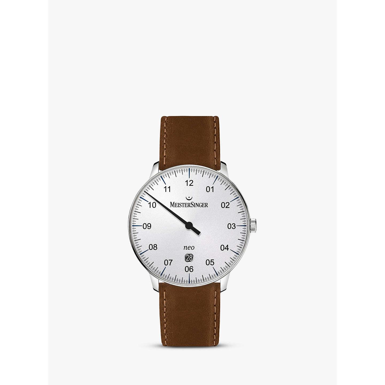 New Latest Meistersinger Ne401-Scf03 Unisex Neo Date Automatic Leather Strap Watch Cognac/White for Men On Sale Sale