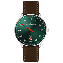 Buy MeisterSinger NE409-SCF02 Unisex Neo Automatic Date Leather Strap Watch, Dark Brown/Green Online at johnlewis.com