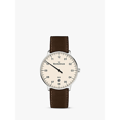 MeisterSinger NE403-SCF02 Unisex Neo Automatic Date Leather Strap Watch, Dark Brown/Cream