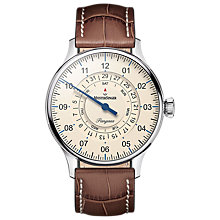 Buy MeisterSinger PDD903 Unisex Pangaea Day Date Automatic Leather Strap Watch, Tan/Cream Online at johnlewis.com