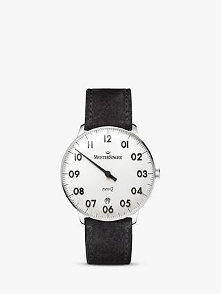 MeisterSinger NQ901N Women's Neo Q Date Leather Strap Watch, Black/White