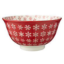 Buy John Lewis Snowflake Bowl, Red/White, Dia.16.5cm Online at johnlewis.com