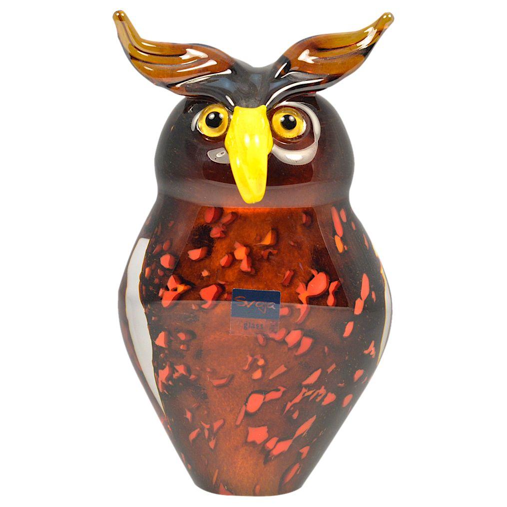 Svaja Svaja Oswald Owl Glass Ornament, Brown