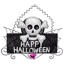 Buy Happy Halloween Glitter Skull Hanging Decoration, Black/Silver Online at johnlewis.com