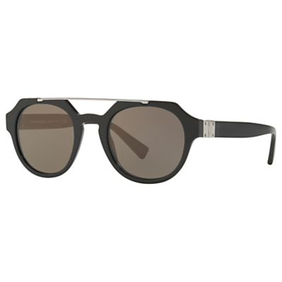 Dolce & Gabbana DG4313 Oval Sunglasses, Black/Brown