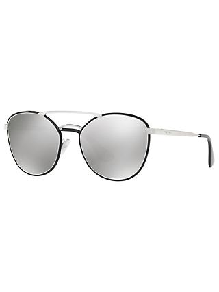 Prada PR 63TS Women's Oval Sunglasses, Silver/Mirror Grey