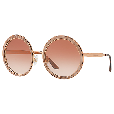 Dolce & Gabbana DG2179 Textured Round Sunglasses, Rose Gold/Pink Gradient