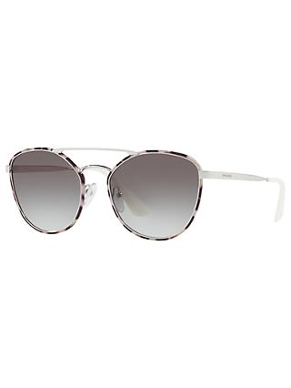 Prada PR 63TS Oval Sunglasses, Brown Havana/Brown Gradient