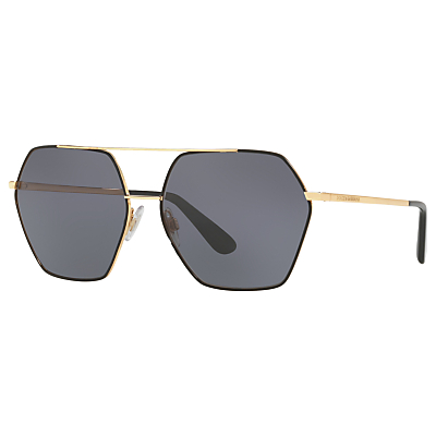 Dolce & Gabbana DG2157 Polarised Hexagonal Sunglasses, Gold/Grey