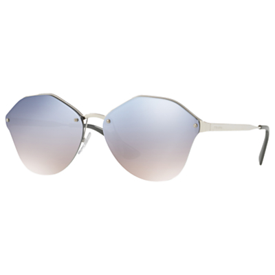 Prada PR 64TS Oval Sunglasses, Silver/Mirror Blue