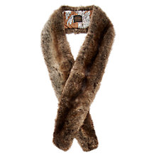Buy Joules Colette Faux Fur Scarf, Brown Online at johnlewis.com