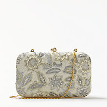 Buy John Lewis Florence Boxed Clutch Bag, Neutral Online at johnlewis.com