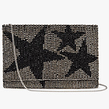 Buy John Lewis Starr Envelope Beaded Clutch Bag, Silver/Black Online at johnlewis.com