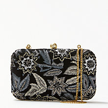 Buy John Lewis Florence Boxed Clutch Bag, Silver / Black Online at johnlewis.com