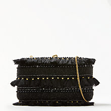 Buy John Lewis Capri Boxed Clutch Bag, Gold / Black Online at johnlewis.com