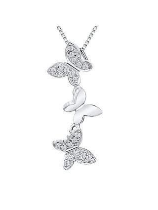 Jools by Jenny Brown Cubic Zirconia Butterfly Chain Necklace, Silver