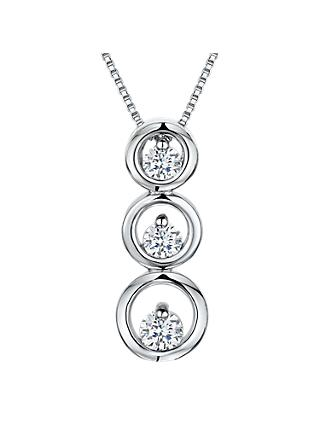 Jools by Jenny Brown Cubic Zirconia Three Tiered Circle Necklace, Silver