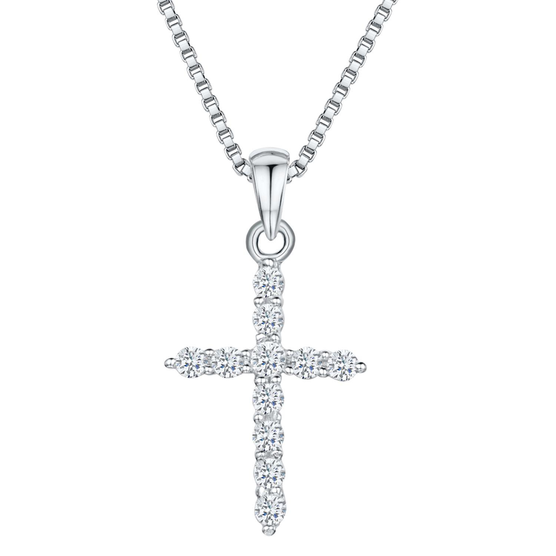 Jools by Jenny Brown Jools by Jenny Brown Cubic Zirconia Cross Necklace, Silver