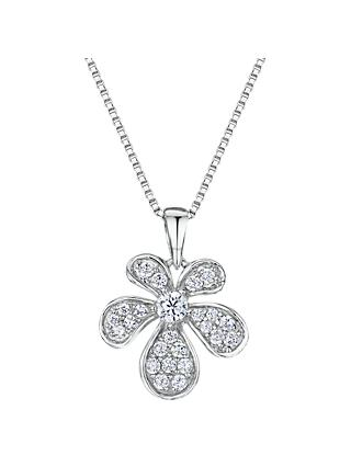 Jools by Jenny Brown Cubic Zirconia Abstract Bloom Necklace, Silver