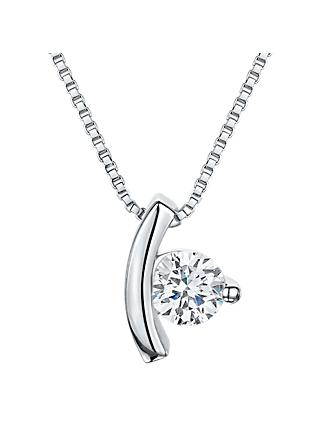 Jools by Jenny Brown Cubic Zirconia Suspended Drop Necklace, Silver