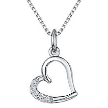 Buy Jools by Jenny Brown Cubic Zirconia Hanging Heart Necklace, Silver Online at johnlewis.com