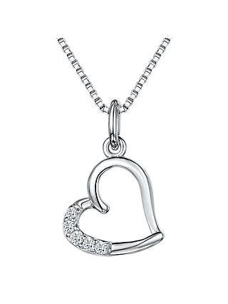 Jools by Jenny Brown Cubic Zirconia Hanging Heart Necklace, Silver