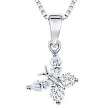 Buy Jools by Jenny Brown Cubic Zirconia Angled Butterfly Necklace, Silver Online at johnlewis.com
