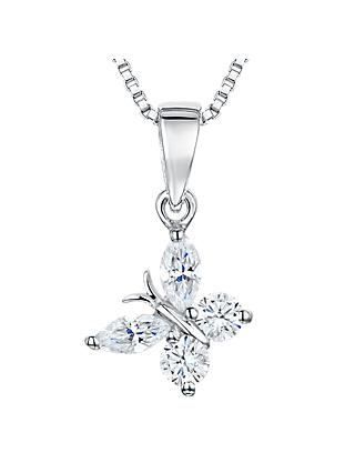 Jools by Jenny Brown Cubic Zirconia Angled Butterfly Necklace, Silver