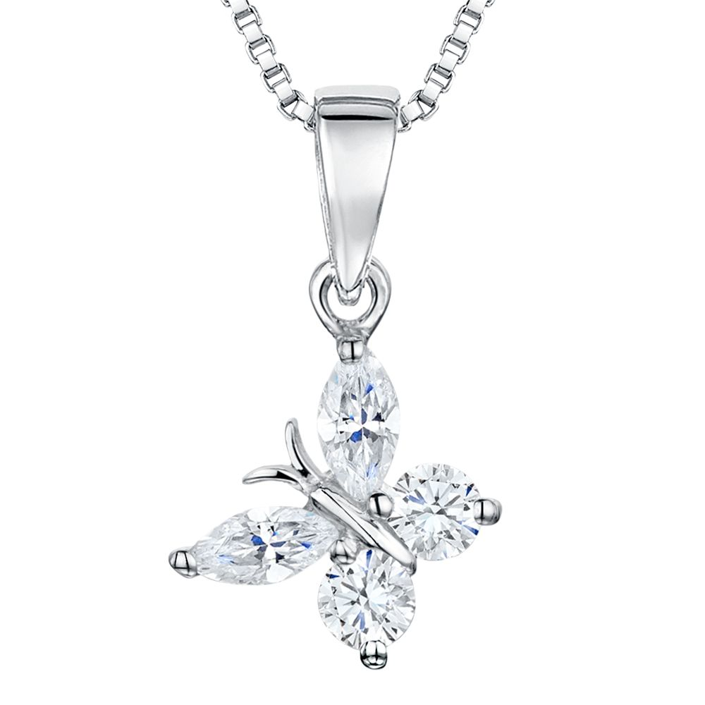 Jools by Jenny Brown Jools by Jenny Brown Cubic Zirconia Angled Butterfly Necklace, Silver