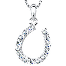 Buy Jools by Jenny Brown Cubic Zirconia Asymmetric Horseshoe Necklace, Silver Online at johnlewis.com