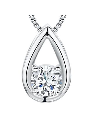Jools by Jenny Brown Cubic Zirconia Brimming Teardrop Necklace, Silver