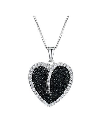 Jools by Jenny Brown Cubic Zirconia Heart Necklace, Silver/Black