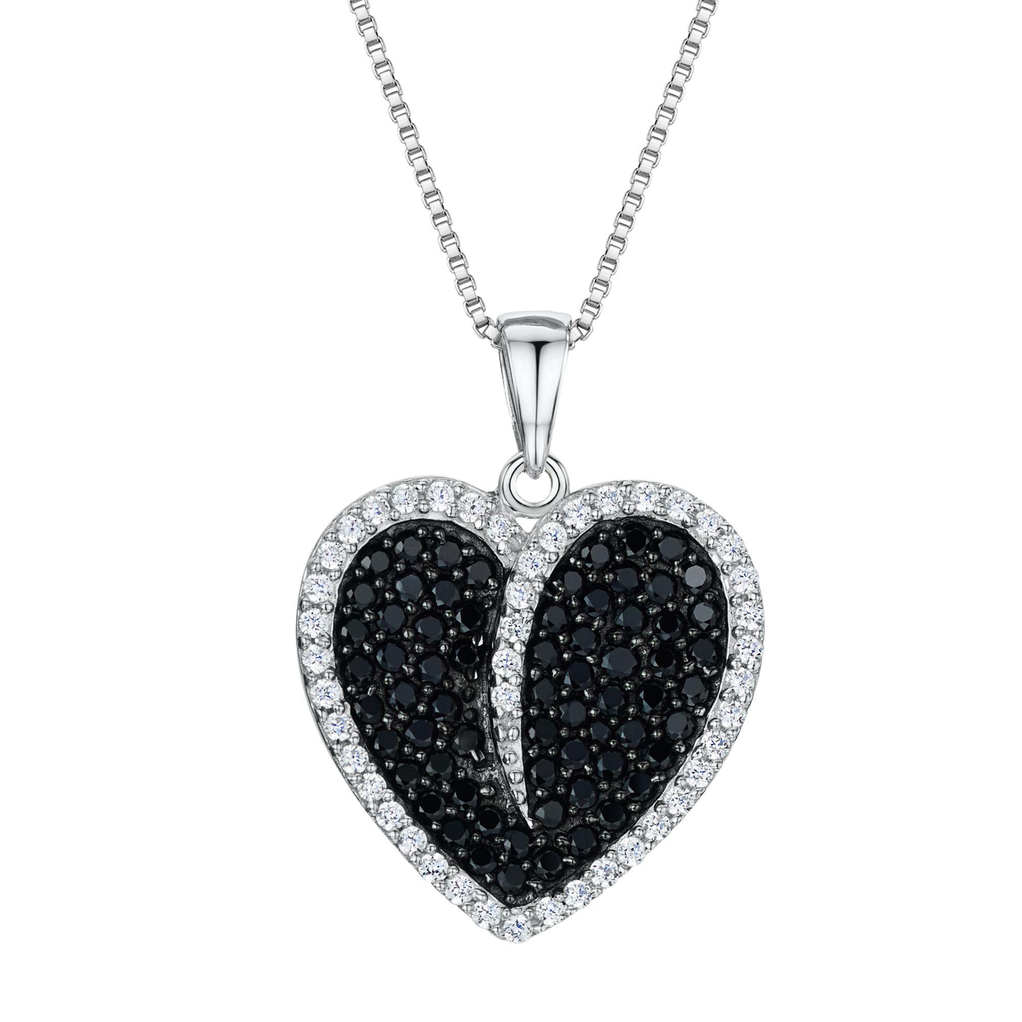 Jools by Jenny Brown Jools by Jenny Brown Cubic Zirconia Heart Necklace, Silver/Black