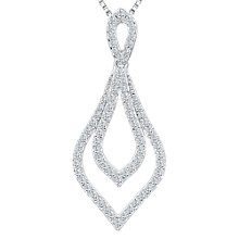 Buy Jools by Jenny Brown Cubic Zirconia Compressed Diamond Shape Necklace, Silver Online at johnlewis.com
