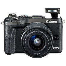 "Buy Canon EOS M6 Compact System Camera with EF-M 15-45mm IS STM Lens, HD 1080p, 24.2MP, Wi-Fi, Bluetooth, NFC, 3.0"" LCD Tiltable Touch Screen, Black Online at johnlewis.com"