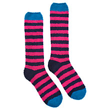 Buy Joules Fab Fluffy Stripe Socks, Ruby Online at johnlewis.com