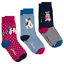 Buy Joules Brilliant Bamboo Xmas Stripe Dog Ankle Socks, Pack of 3, Multi Online at johnlewis.com