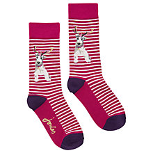 Buy Joules Brilliant Bamboo Xmas Stripe Dog Ankle Socks, Pack of 1, Ruby Online at johnlewis.com