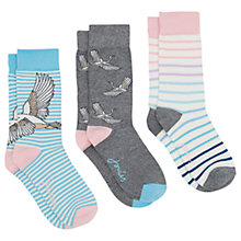 Buy Joules Brilliant Bamboo Swan Ankle Socks, Pack of 3, Multi Online at johnlewis.com