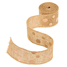 Buy John Lewis Hessan Trim Ribbon, 3m x 50mm, Rose Gold Spots Online at johnlewis.com