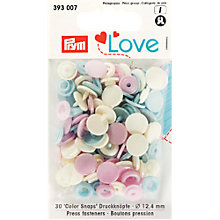 Buy Prym Press Snap Colour Fasteners, 12.4mm, Pack of 30, Pastels Online at johnlewis.com