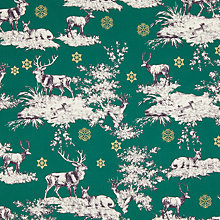 Buy Oddies Textiles Highland Stag Print Fabric, Green Online at johnlewis.com
