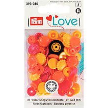 Buy Prym Press Snap Colour Fasteners, 13.6mm, Pack of 21, Assorted Online at johnlewis.com