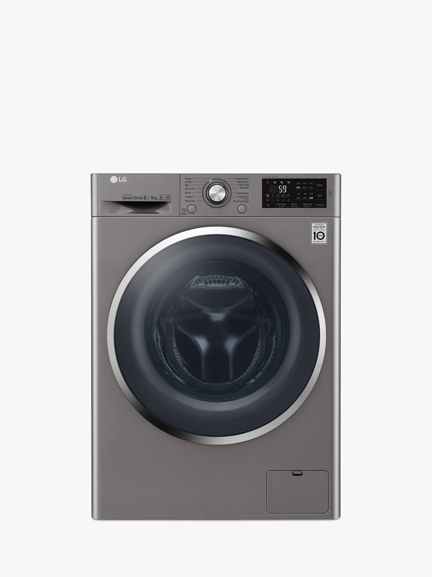 LG F4J6AM2S Freestanding Washer Dryer, 8kg Wash/4kg Dry Load, A Energy Rating, 1400rpm Spin, Shiny Steel