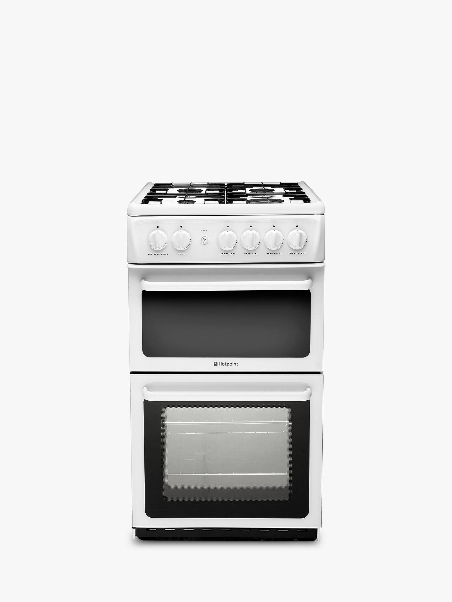 hotpoint hag51p newstyle gas cooker white at john lewis. Black Bedroom Furniture Sets. Home Design Ideas