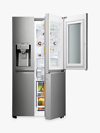 LG GSX961NSAZ Insta View American Style Non-Plumbed Fridge Freezer, A++ Energy Rating, 90cm Wide, Noble Steel