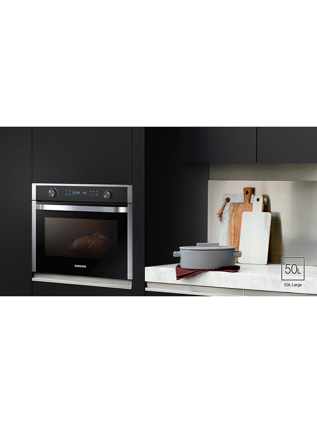 Buy Samsung NQ50K5130BS/EU Built-In Microwave, Black/Stainless Steel Online at johnlewis.com