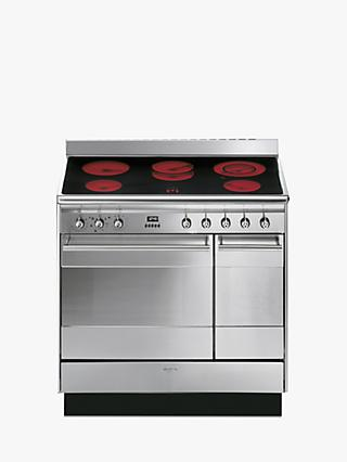Smeg SUK92CMX9 Double Range Cooker with Ceramic Hob, Stainless Steel