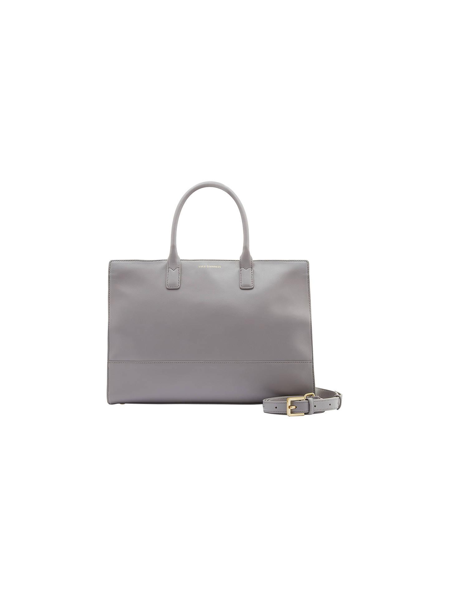 a564cf7d18de19 Buy Lulu Guinness Daphne Smooth Leather Medium Shoulder Bag, Grey Online at  johnlewis.com ...
