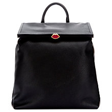 Buy Lulu Guinness Jasmina Grainy Leather Backpack, Black Online at johnlewis.com